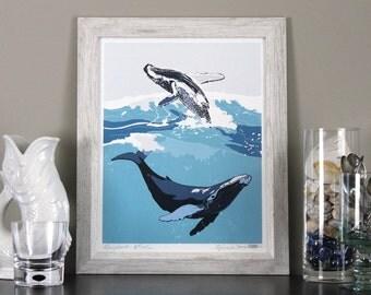 Humpback Whale Art Print Illustration