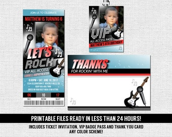 Concert Ticket Invitations Rock Star Birthday Party + Thank You Card and VIP Pass  (print your own) Printable PDF Files - Any Color!