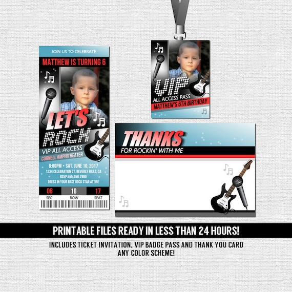 Concert Ticket Invitations Rock Star Birthday Party Thank – Concert Ticket Birthday Invitations