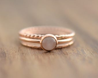 14K Rose Gold Filled Rose Quartz Ring Set// Rose Gold Rose Quartz Ring // Set of 3 Rose Gold Rings // Rose Quartz Stacking Ring