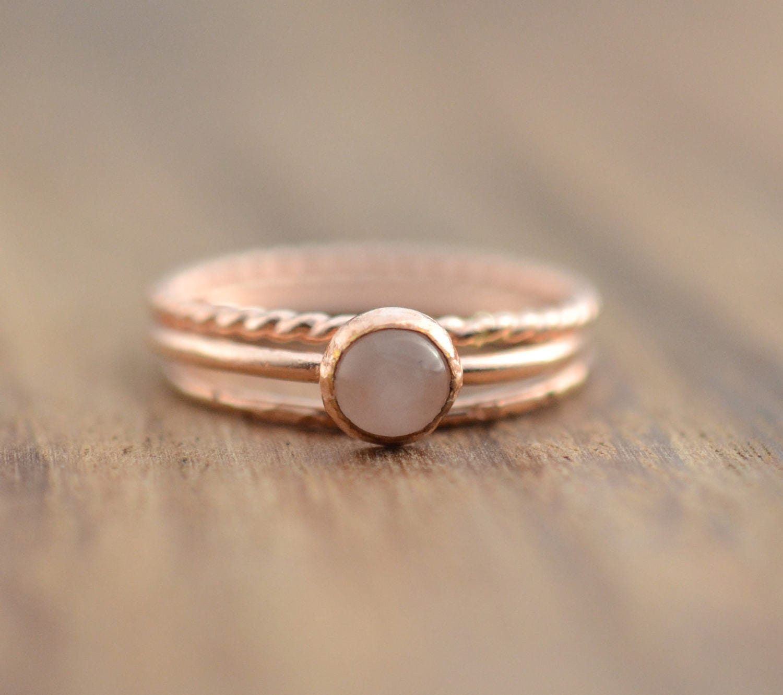 14K Rose Gold Filled Rose Quartz Ring Set Rose Gold Rose Quartz