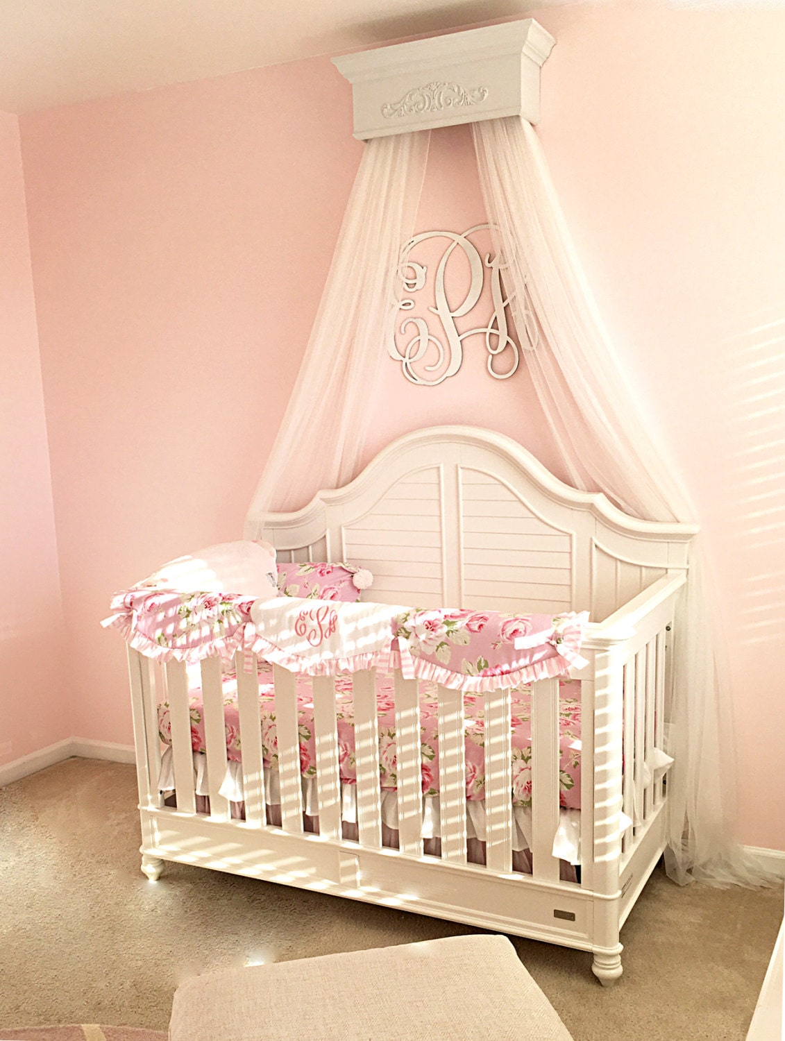 Crib crown canopy bed crown nursery wall design shabby chic for Nursery crown canopy