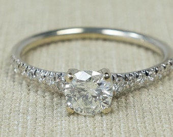Lovely Elegant 14K White Gold 0.60ctw Round Natural Diamond Solitaire Center & Side Accent Simple Engagement Ring Size 5.75 FREE SHIPPING!
