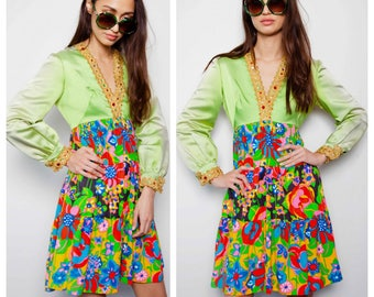 vintage 60s SAKS FIFTH AVENUE psychedelic satin bodice jewelled metallic trim mini dress