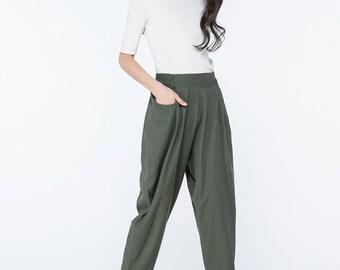 Green pants, linen harm pants, linen trousers, harem trousers women, office pants, office trousers,  pants women, trousers women    C1061