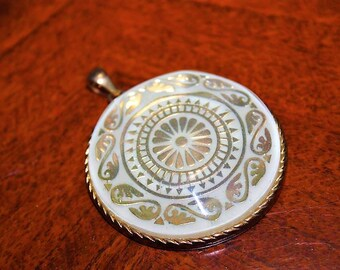 Vintage Exceptional Unique Gold Enamel Scrolls & Swirls Large Molded Glass Pendant PU3