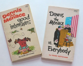 Two Vintage Dennis The Menace Comic Paperbacks - Dennis The Menace Vs Everybody and Good Intenshuns