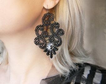 Art Nouveau lace dangle earrings Black chandelier earrings with silver rhinestones Large floral lace earrings Big chunky elegant earrings