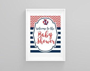 Nautical Baby Shower Printable Sign Table Set, Printable  Baby Shower Signs, Baby Shower Decoration, Baby Shower Prints, Printable Sign
