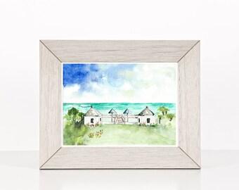 Beach art, Florida beach landscape watercolor painting, giclee art, rosemary beach, florida beach art,  Traditional decor, gift under 25