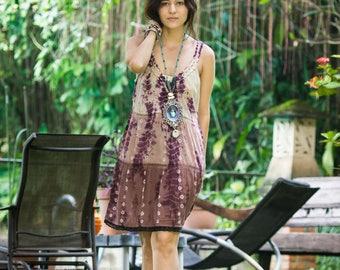 Purple Boho Dress - SUMMER Tie Dye - Bikini Cover Up - Loose Fit Bohemian Style