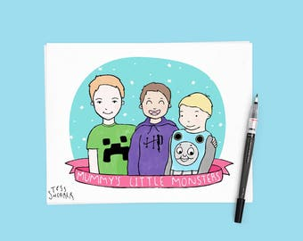 Hand Drawn Family Children's Portrait : Custom Illustration kids or couple, gift idea |  OPTIONS AVAILABLE