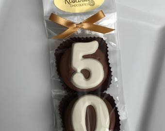 Chocolate Covered Oreo Cookie Candy Party Favors Number Fifty 50th Anniversary Birthday #50 Decorations 50s Dessert Table Decor