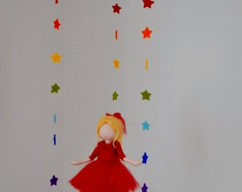 Rainbow  Stars Waldorf inspired needle felted doll mobile: Girl in red