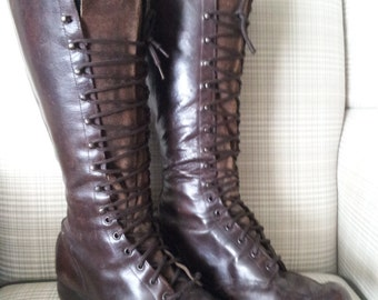 On sale reduced price Antique GOOD YEAR Vintage Brown High Lace Up Leather Size 6
