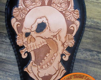 Hand Tooled Leather Chopper, Bobber, Harley Seat .Hand Tooled Seat . Skull Seat