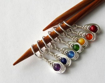 7 Silver Semi Precious Rainbow Knitting Stitch Markers - Handmade in Sterling Silver Wire with Beautiful Semi Precious Stones