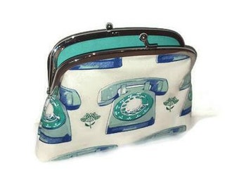 Cream Retro telephone kiss lock coin purse,  Melody miller frame wallet with green fabric 2 sections dual compartments