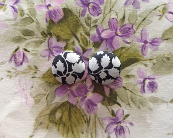 Wholesale Button Earrings / Fabric Covered / Black and Gray / Handmade Jewelry / Leaf / Hypoallergenic Ears / Small Studs / Handmade Gifts