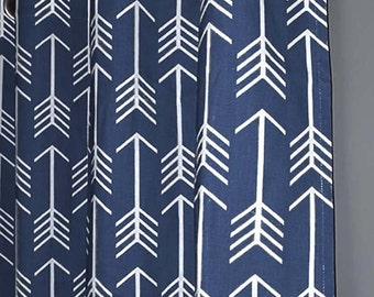 Navy Arrow Curtains - FREE SHIPPING - Two Curtain Panels ANY Size - Navy Blue and White Curtains - Blue Curtains - Navy Curtains -Home Decor