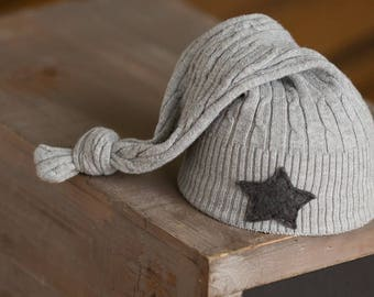 Newborn Boy Hat, Gray Newborn Hat, Upcycled Newborn Hat, Newborn Photography Prop, Newborn Star Hat, Newborn Knot Hat, Newborn Stocking Hat