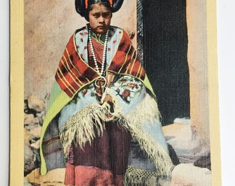 hopi maiden in formal hair-do vintage tinted postcard