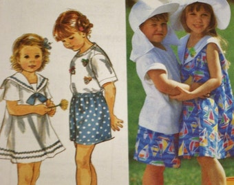 Girls Dress Sewing Pattern /Sailor Collar /Shorts/Knit Top/ Simplicity 8508 /UNCUT / Girls Hats