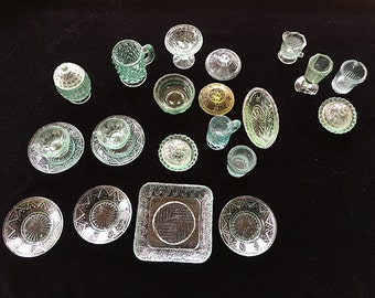 Miniature Green Depression Glass, Dollhouse Glassware, Vintage Patterned Glass, Hobnail, Pressed Glass, Doll Tea Set, Lot of 25 Pieces