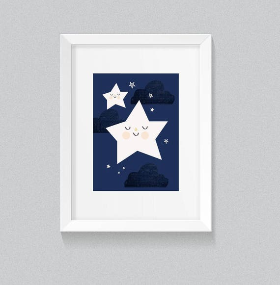 Twinkle Twinkle Little Star Soft Navy and Cream Unisex Playroom Nursery Navy Cream Background Print - Digital Instant Download