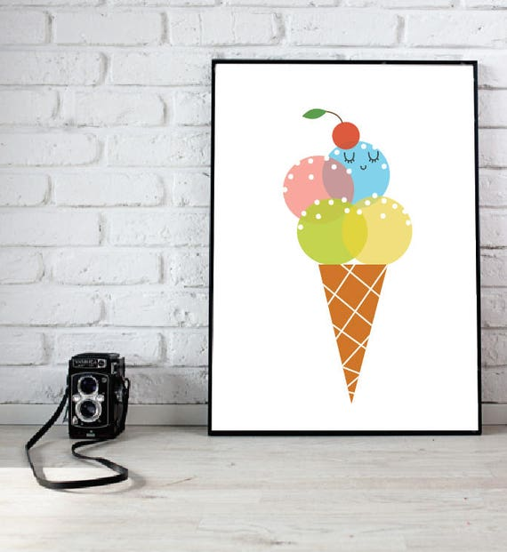 Bold Baby Girl Playroom Nursery Ice Cream with Sprinkles and Cherry Kawaii Cute Modern Trendy Print - Digital Instant Download