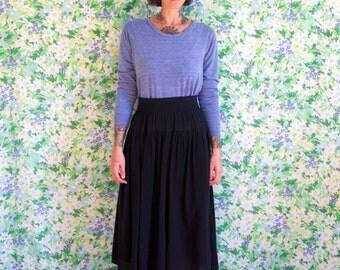 smocked skirt// vintage black cotton gauze peasant elastic waistband high waisted skirt// small medium