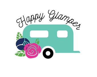 Happy Glamper Decal - Camping Decal - Happy Glamper Sticker - Camping Sticker - Happy Camper - Happy Camper Vinyl Decal - Camping Wall Decal