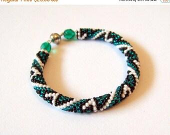 15% SALE Beadwork - Beaded Crochet Bracelet - Colorful - Abstract Beaded Bangle - Round Chunky Bangle - Geometric Design Bracelet