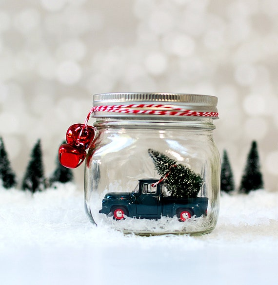 Truck in Jar - Vintage Ford Pick Up Snow Globe - Christmas Decor with Vintage Truck and Bottle Brush Tree