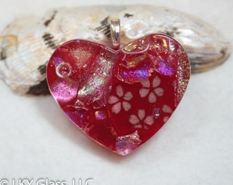 Red Heart, Glass Necklace, Red Glass Heart, Red Glass Stone, Glass Jewelry, Dichroic Heart, Fused Glass Pendant, Snake Chain Included,DH1102
