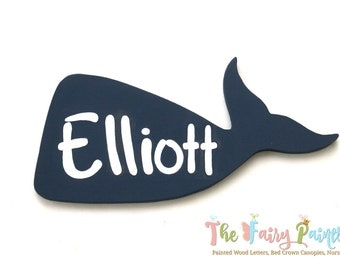 Personalized Whale Sign, Whale Nursery Name Sign, Beach Nursery Sign, Beach House Sign, Whale Wall Art, Newborn Whale Baby Shower Decoration