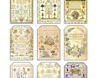 Victorian Sampler Printables of Needlework and Embroidery, GIFT TAGS (2 x 3 inches)