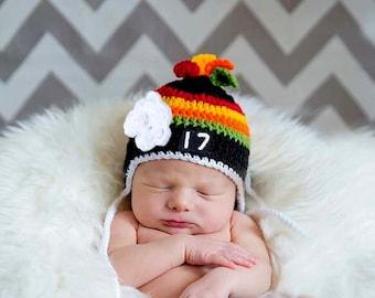 BABY HOCKEY GIRL Hat, Black Red Hockey, Baby Hockey Crochet, Grandmabilt Crochet, Girl Hockey Hat, Knit Hockey Baby Hat, Crochet Hockey Hat