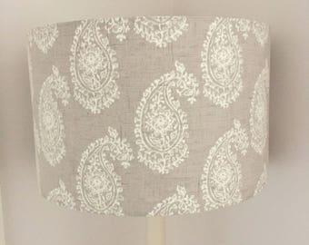 Natural Linen colour persian paisley lampshade