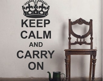 Keep Calm And Carry On Wall Decal Saying Home Crown Sticker Quote Living Room Great Britain England UK Bedroom Removable Vinyl Decal, 26d