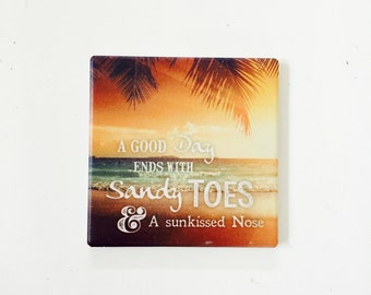 Beach Coasters / Beach Decor / Nautical Coasters / Beach Gift / Surf Gift / wholesale beach / aloha gifts / vintage