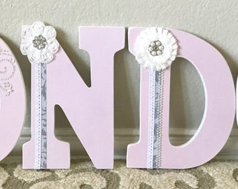 Custom Nursery Letters - Shabby Chic Baby Girl Nursery Decor- Wooden Letters- Personalized- wall hanging-The Rugged Pearl