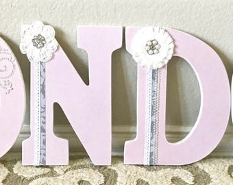 Pink and Gray Nursery Decor, Nursery Letters, Wall Letters, Girl Baby Shower, Wooden Letters,  Personalized- wall hanging-The Rugged Pearl