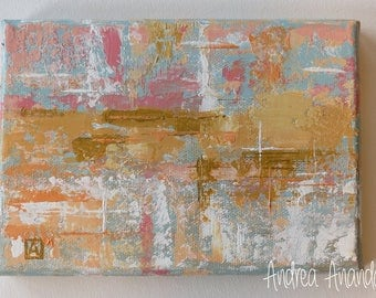 Original Abstract Acrylic Painting Wall Fine Art Surreal 5 x 7 inches Mini Canvas