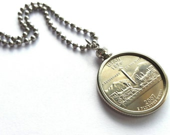 Utah State Quarter Coin Necklace with Stainless Steel Ball Chain or Key-chain - 2007