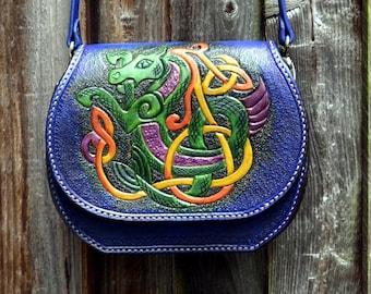 Celtic Seahorse Saddle hand bag from genuine leather bag/saddle bag/shoulder bag