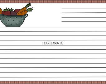 Printable Recipe Card Download Primitive Farmhouse, Bridal Shower, Rustic Recipe Cards
