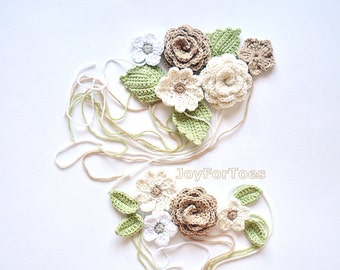 """Handmade Crochet Flower  Applique for the Boho Chic Shoes by """"JoyForToes"""" Made to order"""