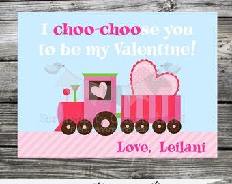 Printable Valentine Cards, Choo Choo Train Valentine's Day Cards, Classroom Cards, Valentine's Day,  Kids Valentine Cards, DIY Valentines