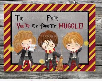 Instant Download, Printable Valentine Card, My Favorite Muggle Valentine Cards, Harry Potter Valentine Cards, Harry Potter, Kids Valentines